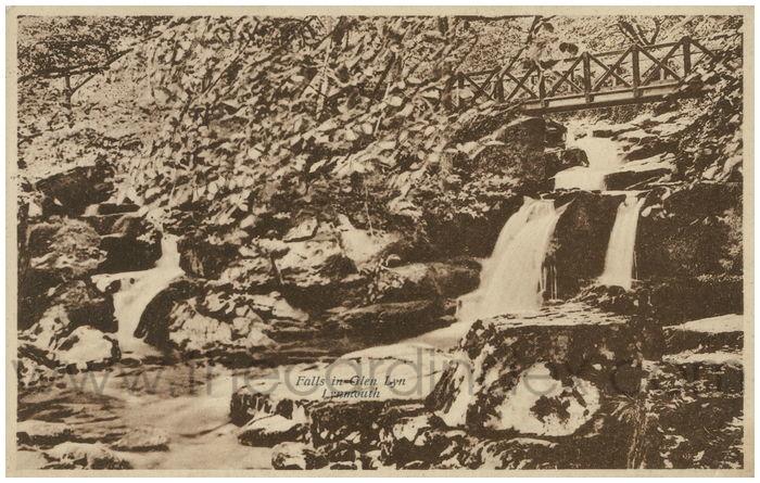 Postcard front: Falls in Glen Lyn, Lynmouth.