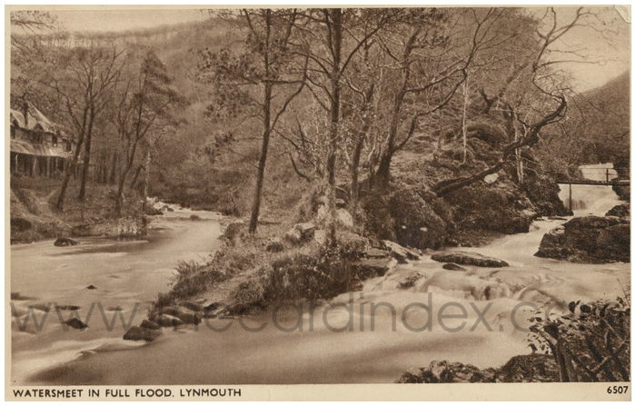 Postcard front: Watersmeet in Full Flood, Lynmouth