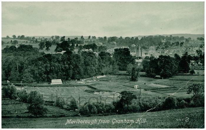 Postcard front: Marlborough from Granham Hill.
