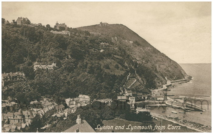 Postcard front: Lynton and Lynmouth from Torrs