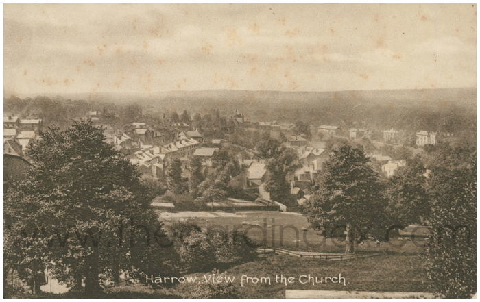 Postcard front: Harrow, from the Church.