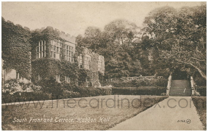 Postcard front: South Front and Terrace, Haddon Hall.