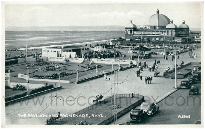 Postcard front: The Pavilion and Promenade, Rhyl.