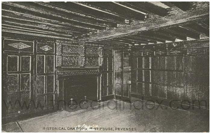 Postcard front: Historical Oak Room, Mint House, Pevensey