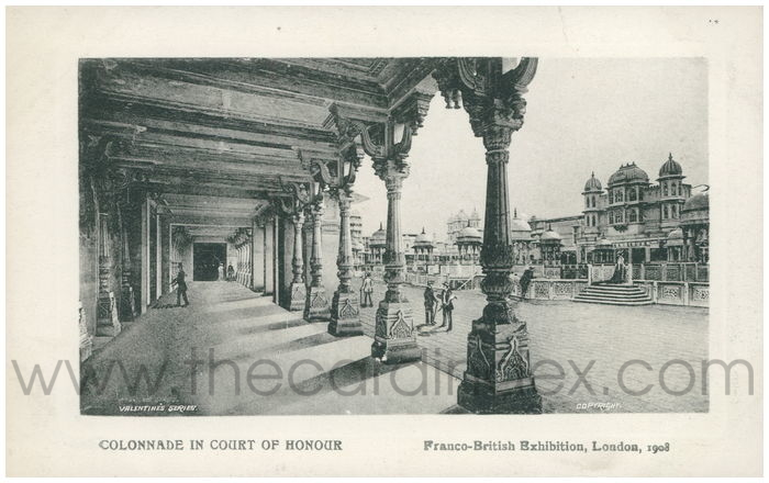 Postcard front: Colonnade in Court of Honour. Franco-British Exhibition, London, 1908