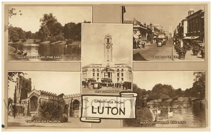 Postcard front: Greetings from Luton