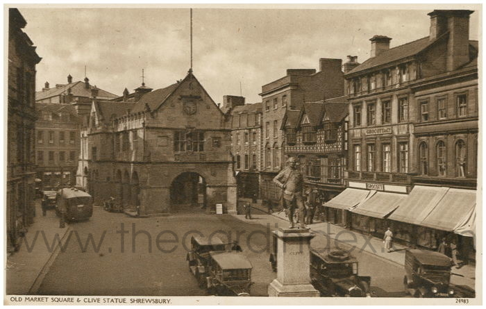 Postcard front: Old Market Square & Clive Statue. Shrewsbury.
