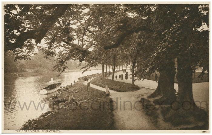 Postcard front: The River Severn, Shrewsbury.