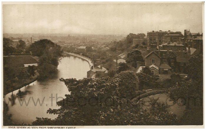Postcard front: River Severn As Seen From Shrewsbury Castle.