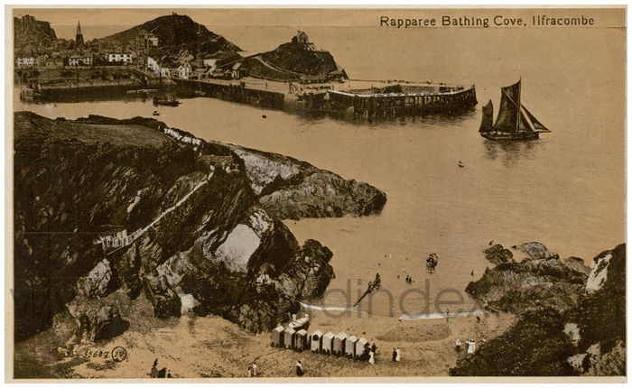 Postcard front: Rapparee Bathing Cove, Ilfracombe.