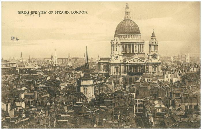 Postcard front: Bird's Eye View of Strand, London