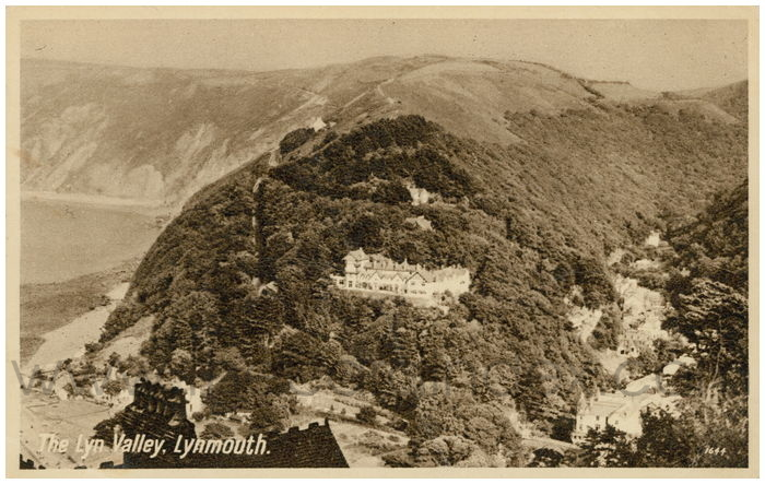 Postcard front: The Lyn Valley, Lynmouth.
