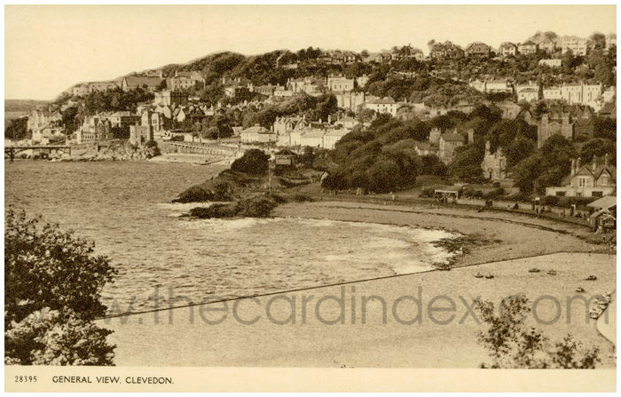 Postcard front: General View, Clevedon.