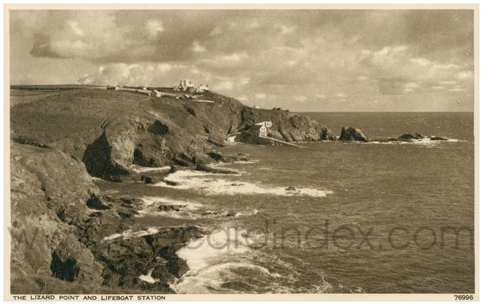 Postcard front: The Lizard Point and Lifeboat Station.