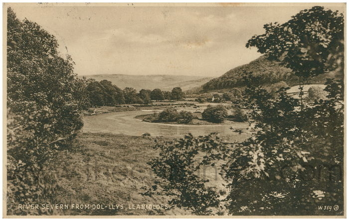 Postcard front: River Severn from Dol-Llys, Llanidloes