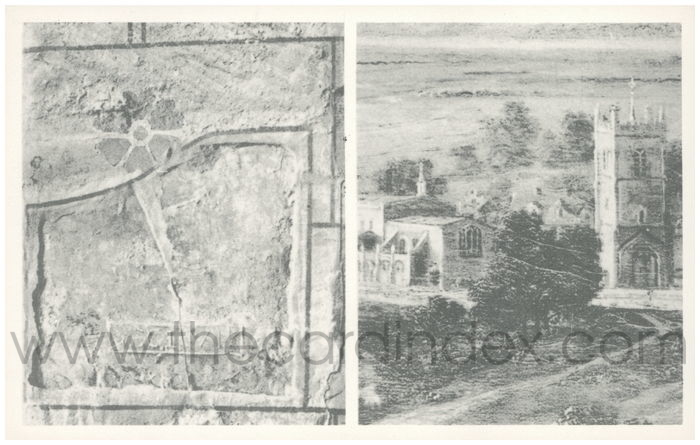 Postcard front: Scar of the Medieval Church of Our Saviour and His Saints, once attached to the tower and now destroyed. Roman Tile in Berkeley Church