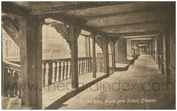 Postcard front: In The Row, Watergate Street, Chester.