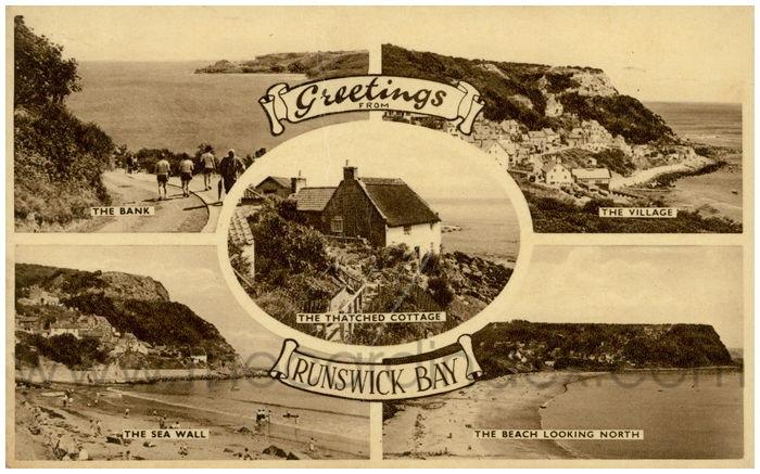 Postcard front: Greetings from Runswick Bay.