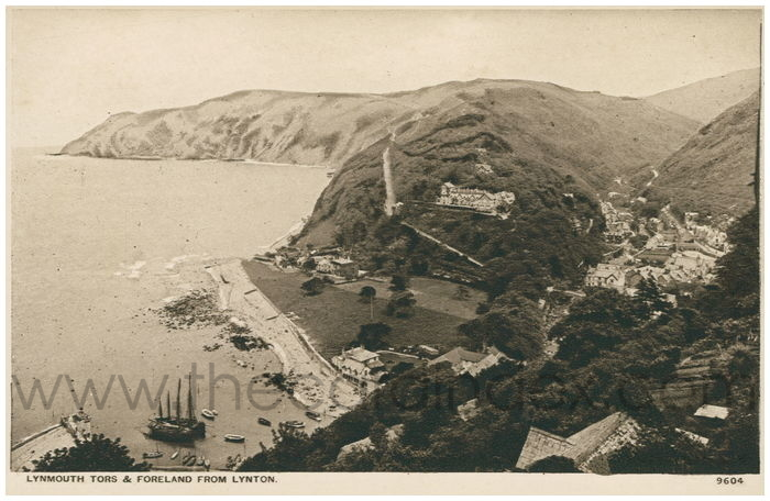 Postcard front: Lynmouth Tors & Foreland from Lynton.