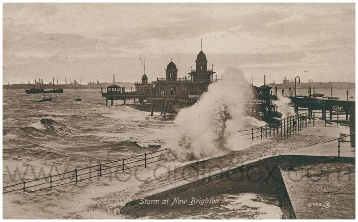 Postcard front: Storm at New Brighton.