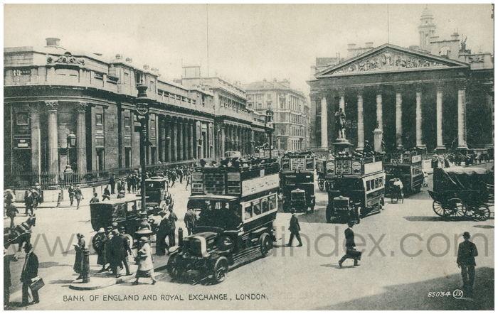 Postcard front: Bank of England and Royal Exchange, London.