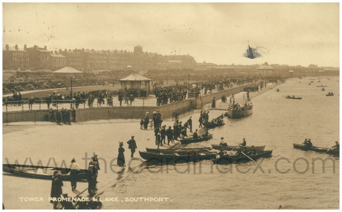 Postcard front: Tower Promenade & Lake, Southport.