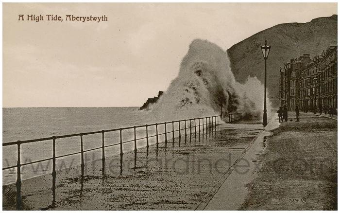 Postcard front: A High Tide, Aberystwyth.
