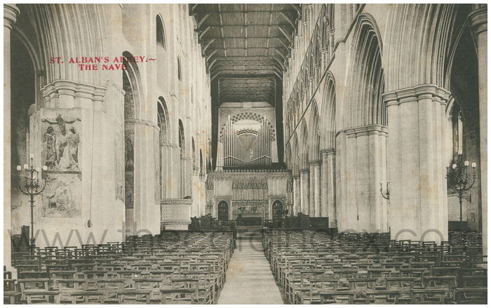 Postcard front: St. Alban's Abbey - The Nave.