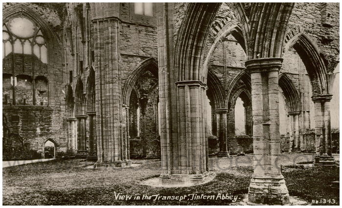 Postcard front: View in the Transept, Tintern Abbey.