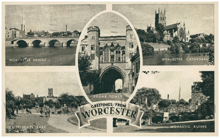 Postcard front: Greetings From Worcester