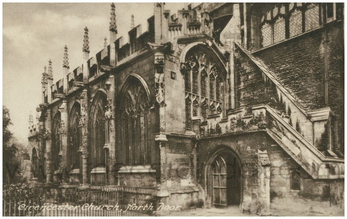 Postcard front: Cirencester Church, North Door.