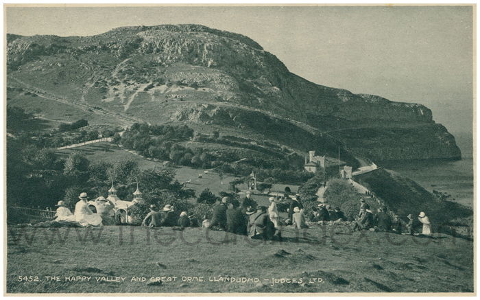 Postcard front: The Happy Valley and Great Orme, Llandudno