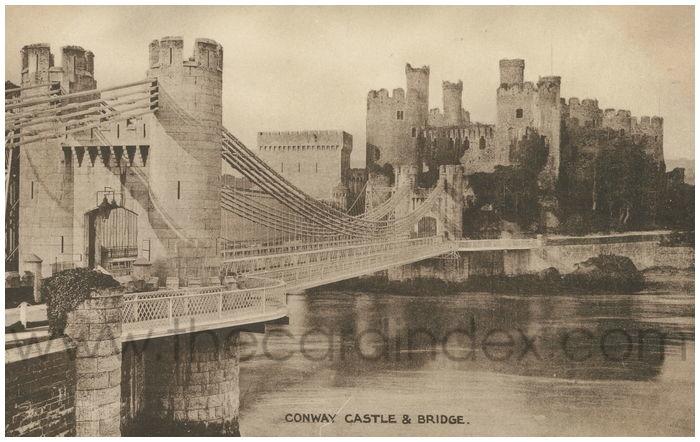 Postcard front: Conway Castle & Bridge.