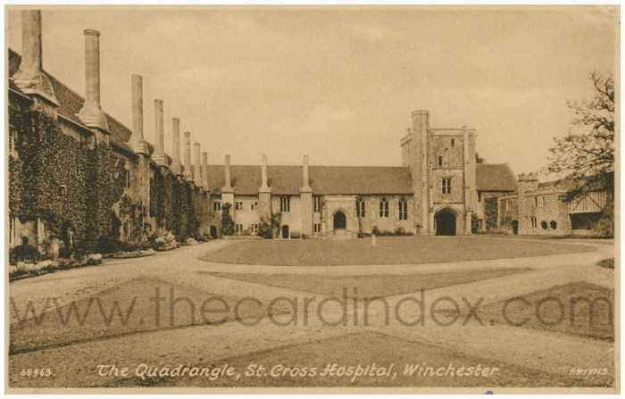 Postcard front: The Quadrangle, St. Cross Hospital, Winchester