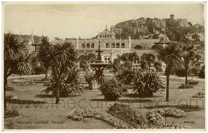Postcard front: Princess Gardens, Torquay.