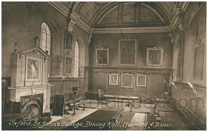 Postcard front: Oxford, St. John's College, Dining Hall (Founded A.D.1555).
