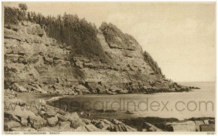 Postcard front: Torquay. Maidencombe Beach.