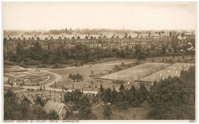 Postcard front: Tennis Courts & Valley Drive. Harrogate.