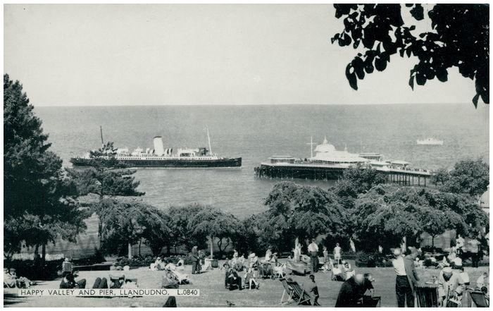 Postcard front: Happy Valley and Pier, Llandudno.