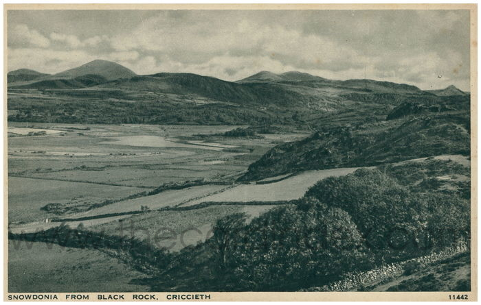 Postcard front: Snowdonia From Black Rock, Criccieth