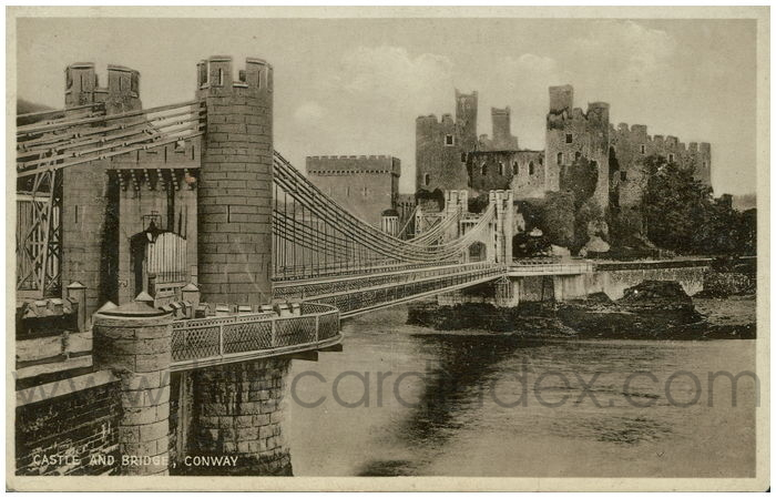 Postcard front: Castle and Bridge, Conway