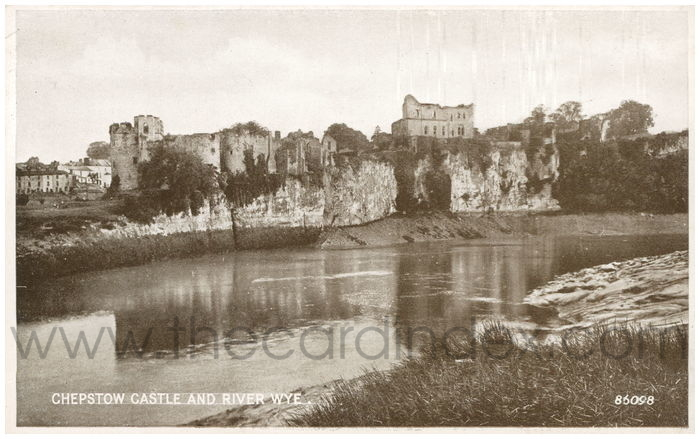 Postcard front: Chepstow Castle and River Wye.