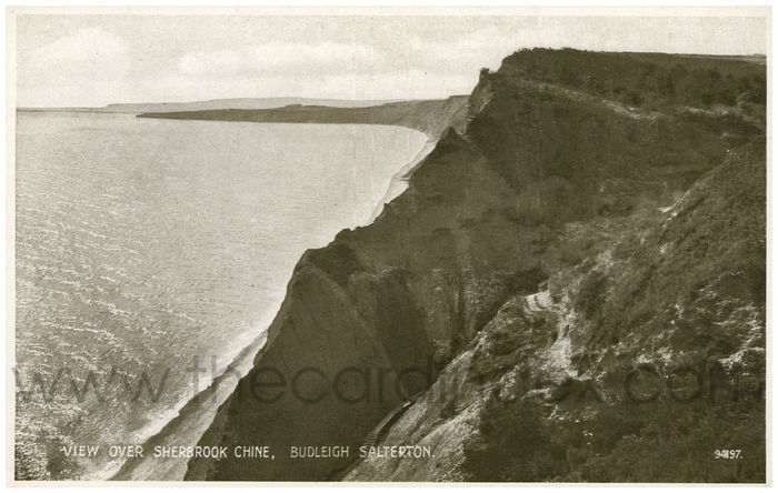Postcard front: View Over Sherbrook Chine, Budleigh Salterton.