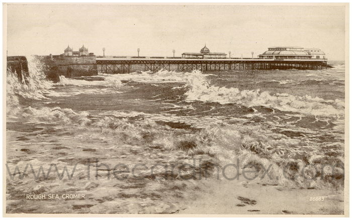 Postcard front: Rough Sea, Cromer.