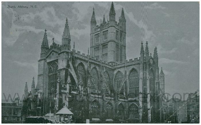 Postcard front: Bath Abbey, N.E.