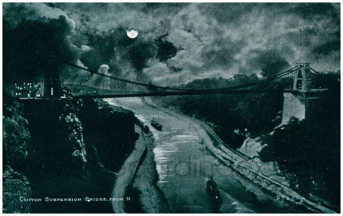 Postcard front: Clifton Suspension Bridge, from N.