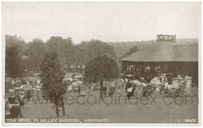 Postcard front: Tea House  in Valley Gardens, Harrogate.