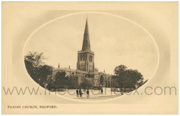 Postcard front: Parish Church, Bedford.