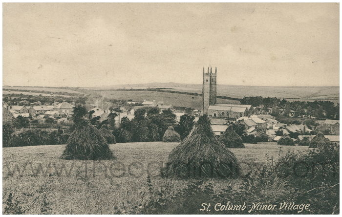 Postcard front: St. Columb Minor Village