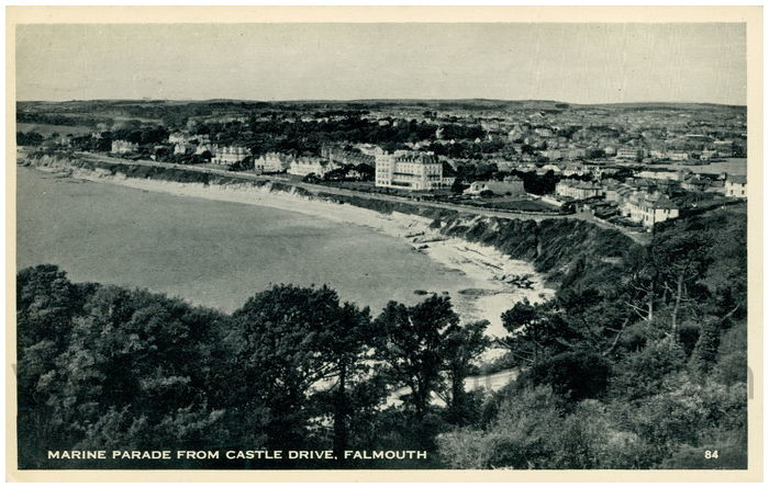 Postcard front: Marine Parade from Castle Drive, Falmouth.